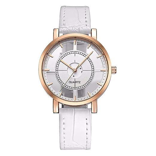 Reloj Casual Esfera Transparente de Cuarzo con Correa de Cuero para Mujer (Blanco): Amazon.es: Relojes