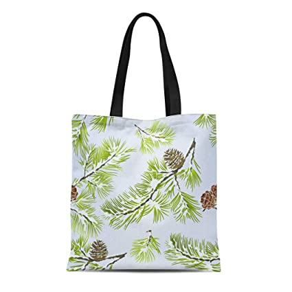 83149bcd4a4d Amazon.com: Semtomn Canvas Tote Bag Shoulder Bags Green Drawing Pine ...