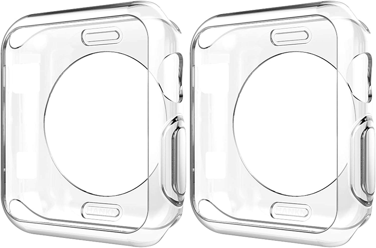 HANKN 2 Pack Clear Case for Apple Watch Series 3 2 1 Case, Soft TPU Cover Shell Shockproof Iwatch Bumper [No Front Screen Protector] (Clear, 42mm)