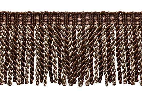 (3 Inch Long Bullion Fringe Trim, Style# DB3 - Dark brown, Sand - Espresso Latte D2A2 (Sold by The Yard))