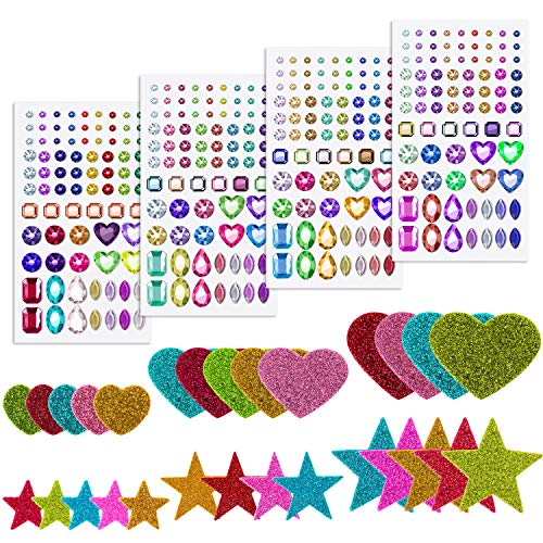 Anezus 4 Sheets Craft Gems Self Adhesive Rhinestones Jewel Stickers with 100Pcs Glitter Foam Stickers Self Adhesive for DIY Crafts, Assorted Sizes and Shapes