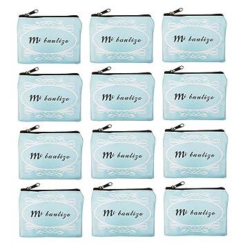 12 Monederos Infantiles,Monedero Bautizo Niño,Monedero Regalo Bautizo-Azul Letras Cuadrado
