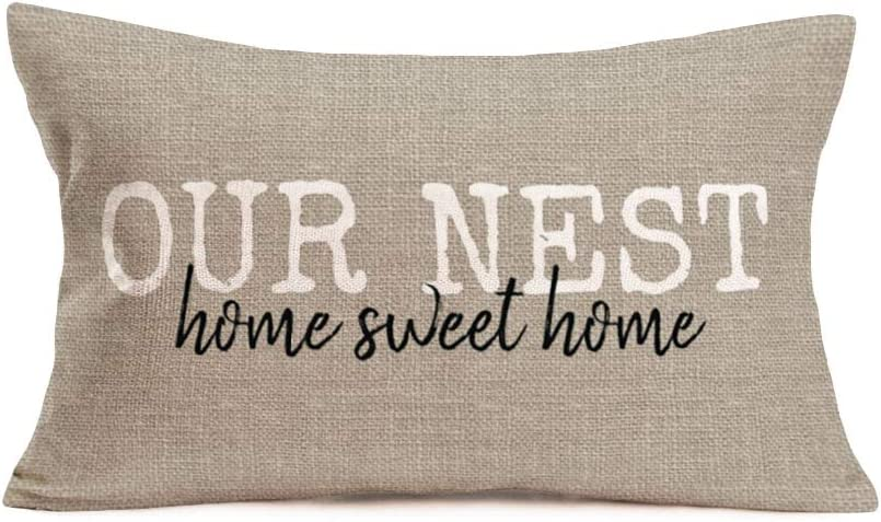Fukeen Our Nest Home Sweet Home Pillow Cover Rectangle 12x20 Inch Cotton Linen Throw Pillow Cases Vintage Country Farmhouse Decorative Cushion Cover for Sofa Couch