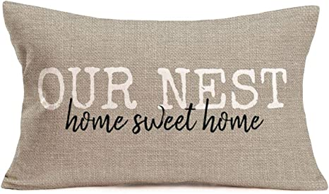 Fukeen Our Nest Home Sweet Home Pillow Cover Rectangle 12x20 Inch Cotton Linen Throw Pillow Cases Vintage Country Farmhouse Decorative Cushion Cover For Sofa Couch Home Kitchen