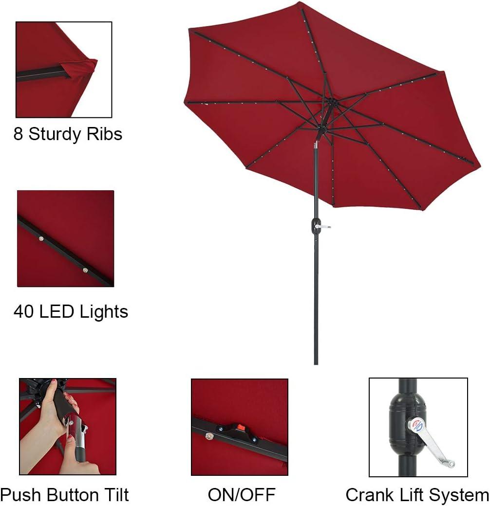 Red Outdoor Umbrella 8 Steel Ribs Patio Watcher 9-Ft Patio Umbrella 40 LED Lighted Solar Umbrella with Push Button Tilt and Crank