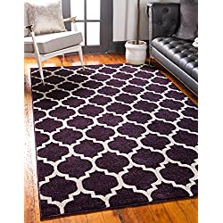 Unique Loom Trellis Collection Moroccan Lattice Purple Area Rug (2' x 3')