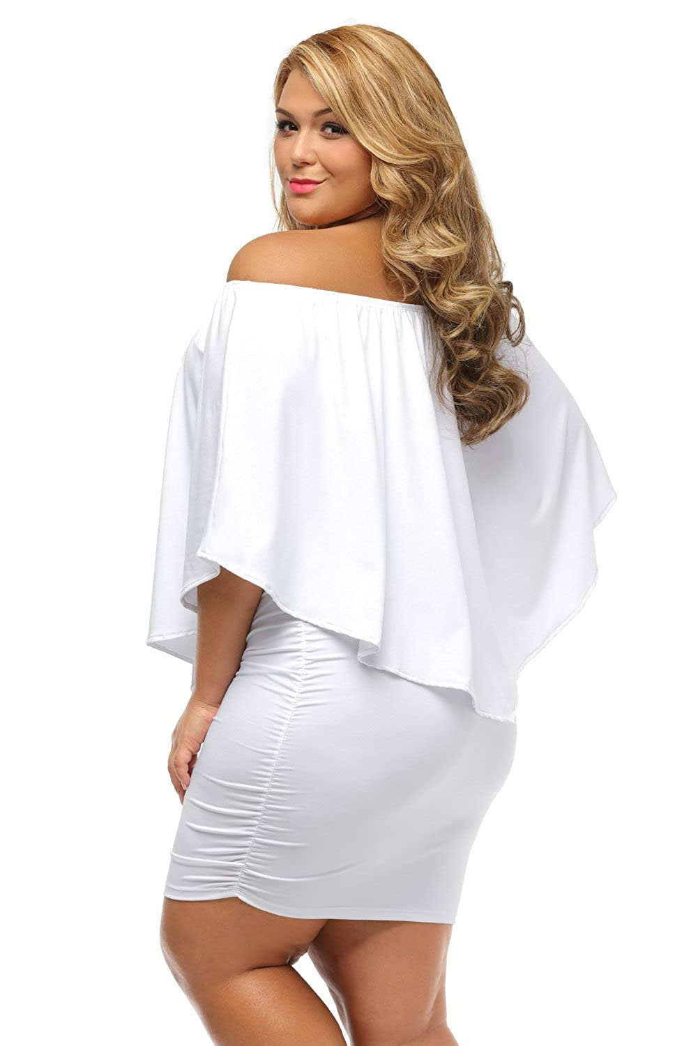 25f92115806 LUCKLOVELL Women Sexy Plus Size Multiple Dressing Layered White Mini Dress  at Amazon Women s Clothing store