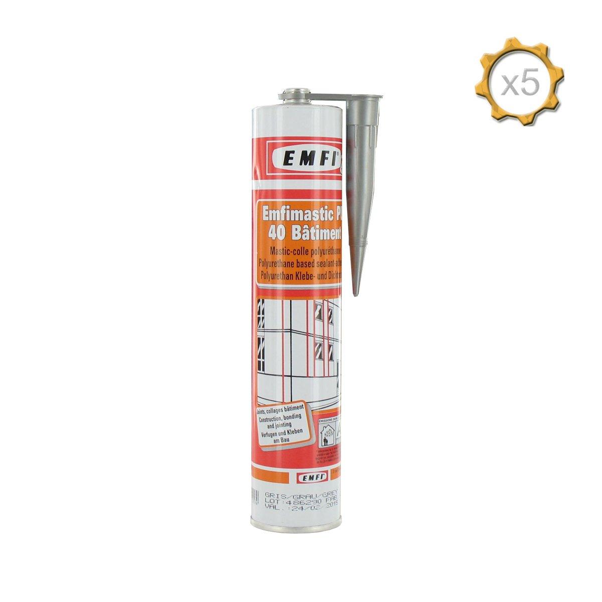 Mastic polyuré thane gris EMFI PU 40 bâ timent 310ml x 5