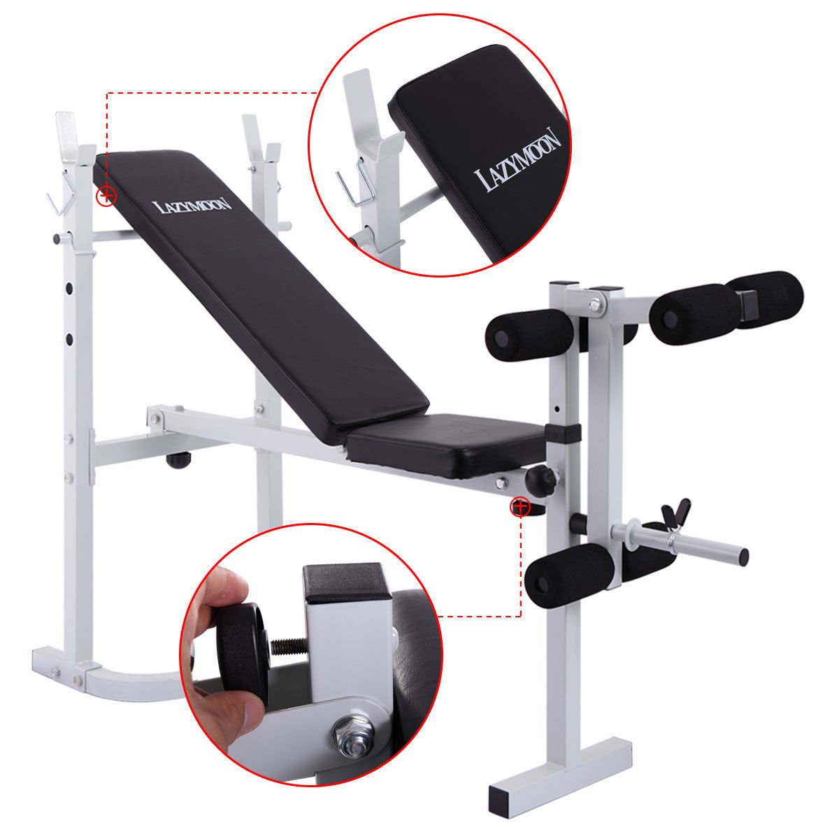 JAXPETY Adjustable Weight Bench Barbell Incline Flat Lifting Workout Body Press Home Gym