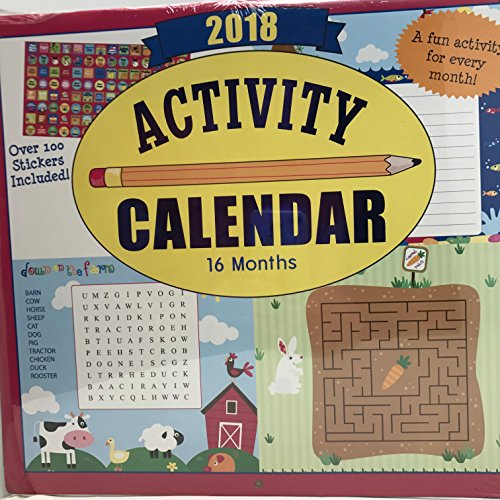 2018 Kids Activity Calendar 16 month w over 100 Stickers