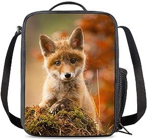 PrelerDIY Cute Baby Fox Lunch Bag Tote Lunch Box Food Bag with Zipper & Side Pocket & Shoulder Strap