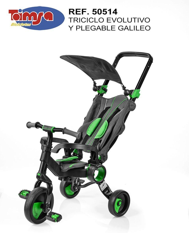 Toim- Triciclo Galileo Plegable Negro Y Verde 65X45X1,05 CM Plegado 70X45X25 CM, (50514)