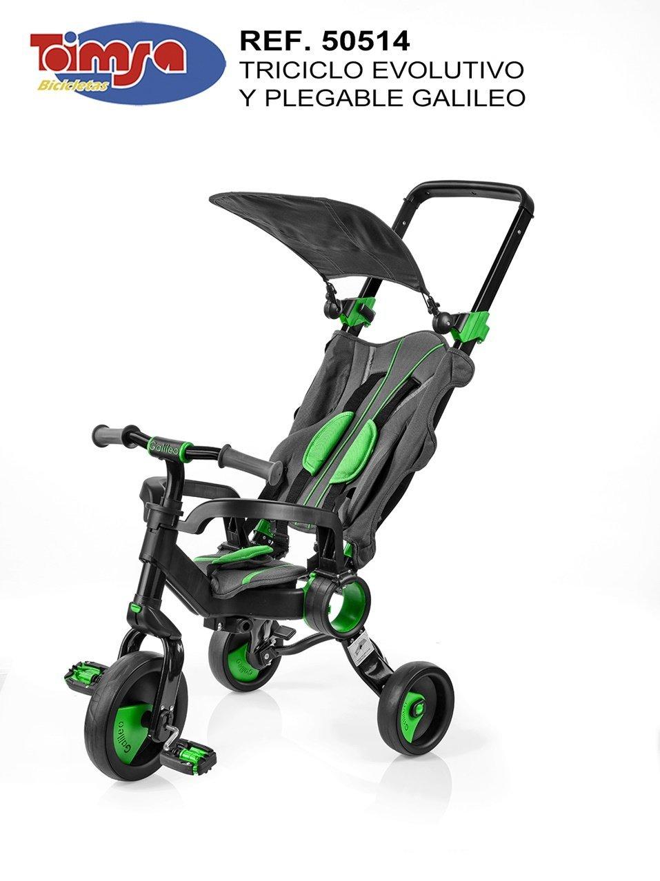 Toim Triciclo Galileo Plegable Negro Y Verde 65X45X1,05 CM Plegado 70X45X25 CM, (50514)