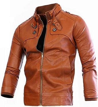 Jeansian Top De Cuero De Abrigos De Moda para Hombre Chaqueta Mens Fashion Jacket Outerwear Leather Top 9348 Brown L: Amazon.es: Ropa y accesorios