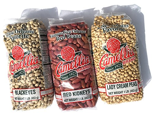 Camellia Louisiana Dried Beans and Pea Favorites 1 LB Each (Blackeye's, Kidney, Lady Cream) by Camellia