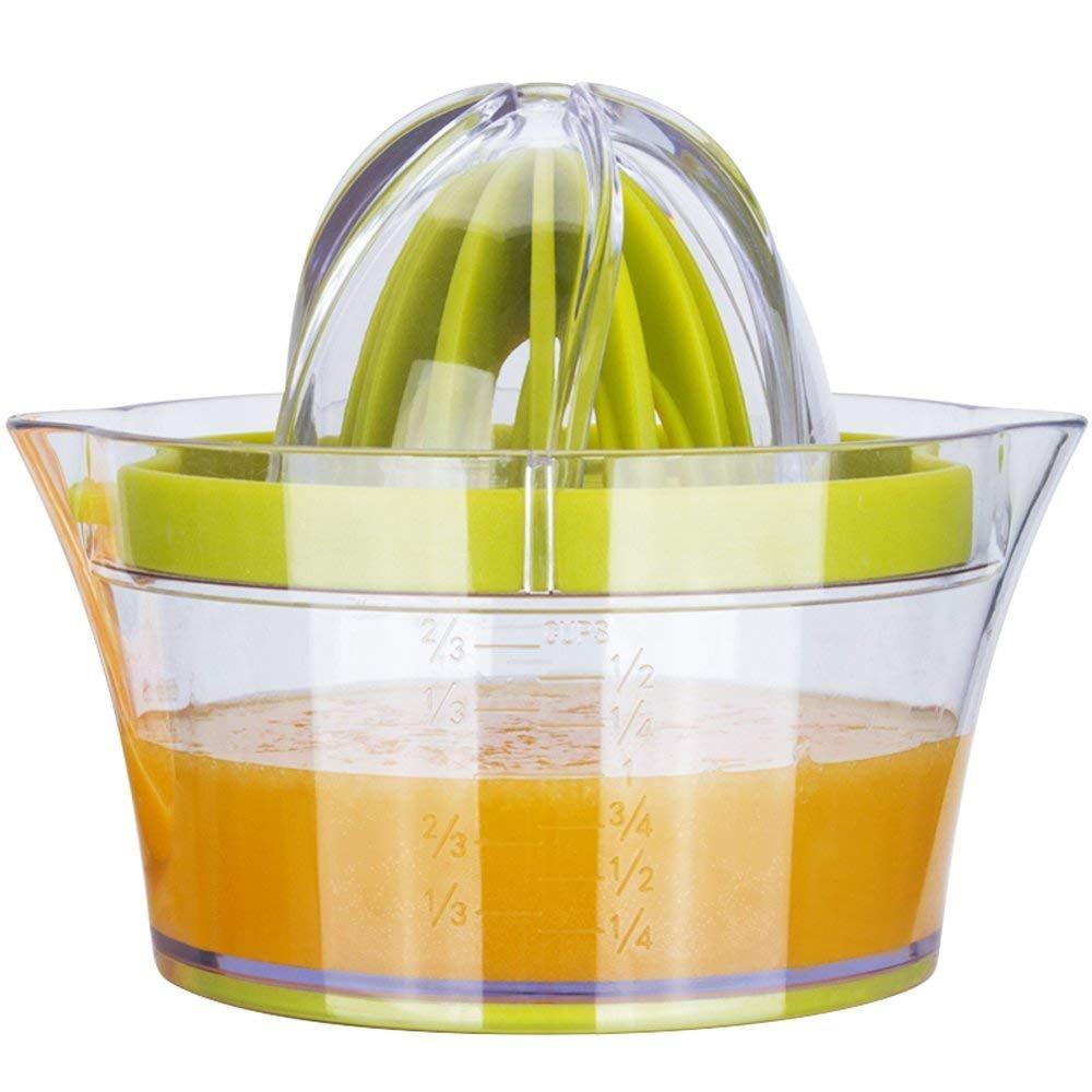 G.a HOMEFAVOR Lemon Orange Citrus Squeezer, Manual Lemon Orange Citrus Lime Juicer, Multifunctional Orange Lemon Lime Press with 2 Reamers & Measuring Container Your?Favor?Mall