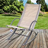 Marko Outdoor Rocker Relaxer Sun Lounger Garden Patio Sunbed Tanning Chair Seat (Cream)