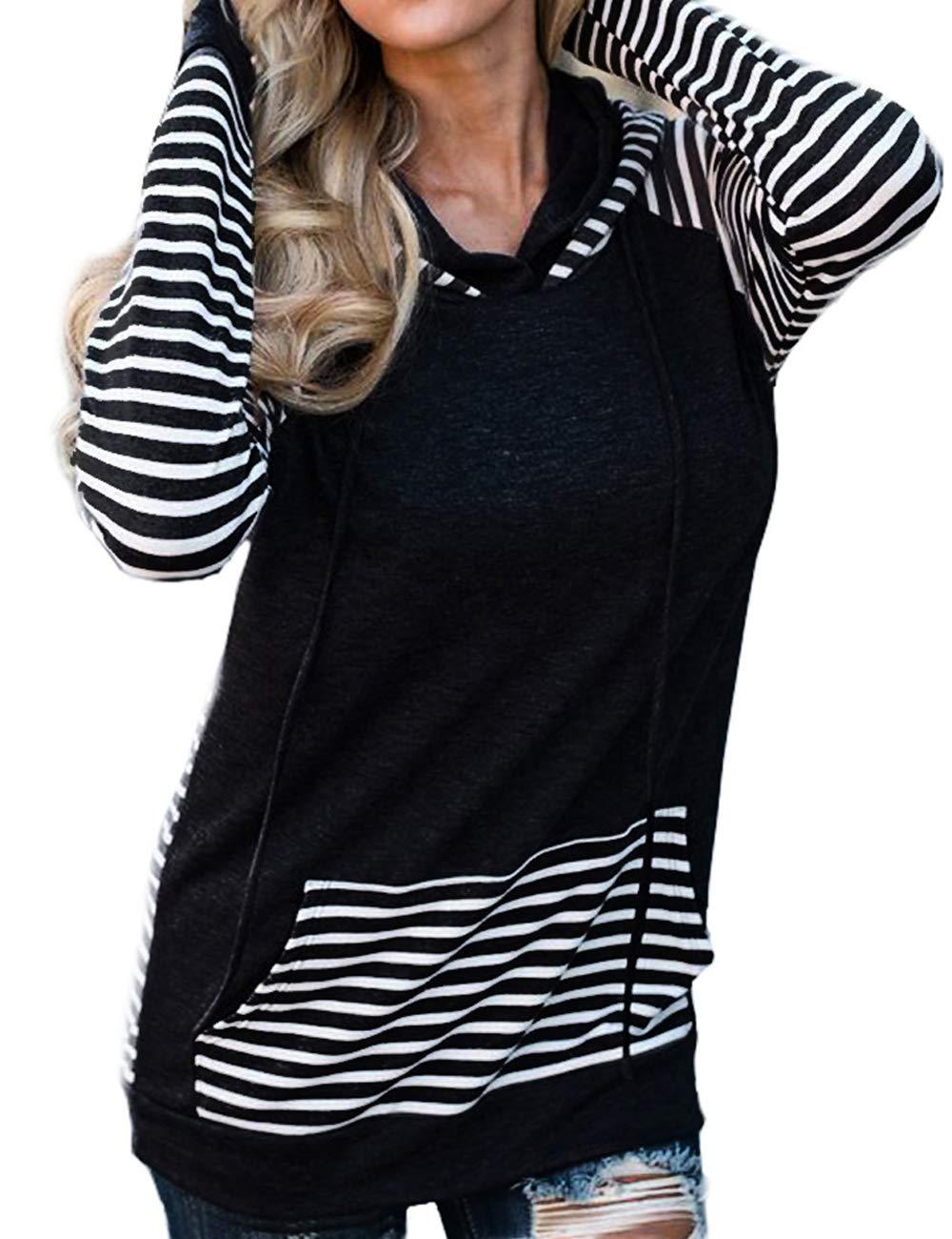 Sweetnight Womens Cowl Neck Hooded Sweatshirt Long Sleeve Pullover Striped Hoodie Drawstring Sweatshirt with Pocket (Black, XXL)