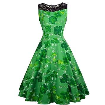 watch d2e23 b5033 Grünes Damen Glückliches Kleeblatt Kleid Sleeveless Spitze Patchwork Kleid  St. Patrick Tageskostüm Swing Kleider
