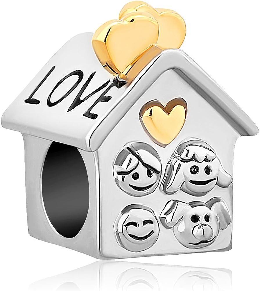 CharmSStory Heart Love Family Mom & Baby Girl & Dad Home Bead Fits Charm Bracelet