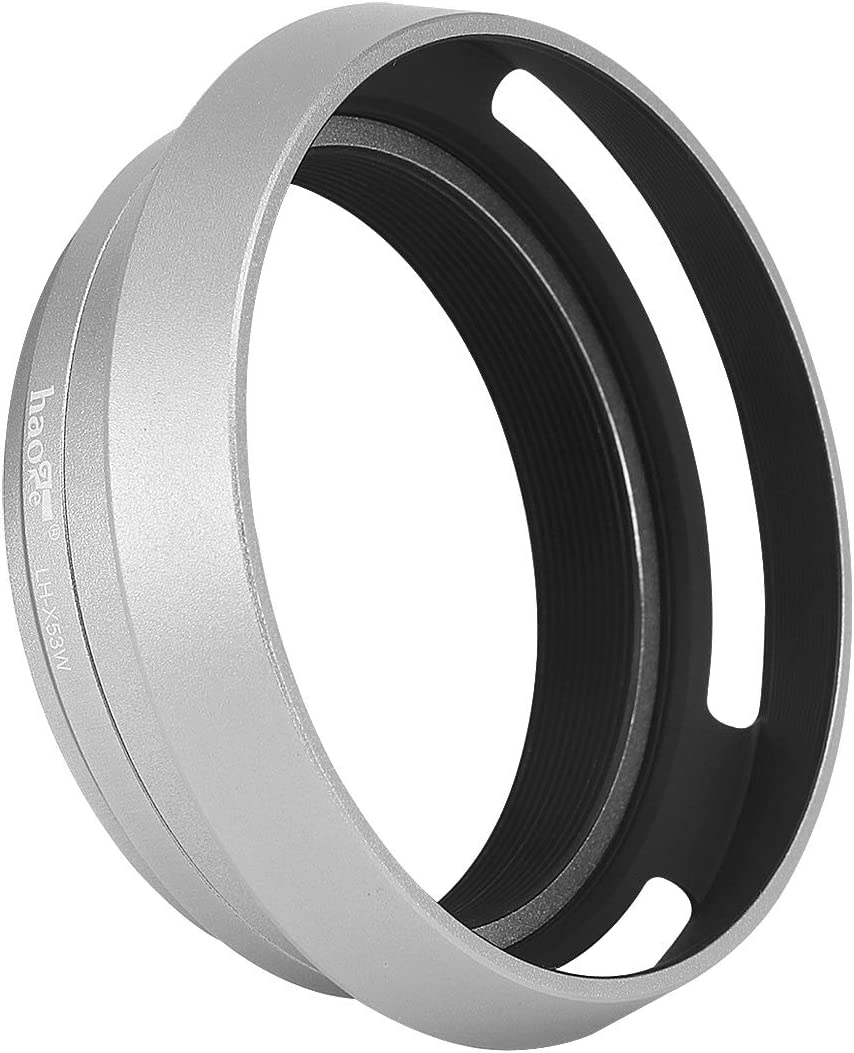 Haoge LH-X53W 3in1 Lens Hood with Adapter Ring with Cap Set for Fujifilm Fuji FinePix X70 X100 X100S X100T X100F X100V Camera Silver Replaces Fujifilm LH-X100