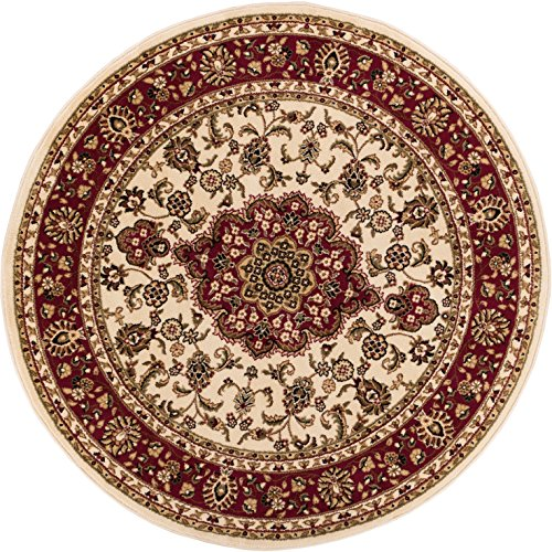 Noble Medallion Ivory Persian Floral Oriental Formal Traditional 4 Round (3'11