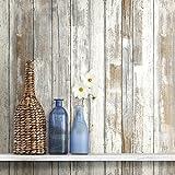 RoomMates RMK9050WP Square Feet Distressed Peel and Stick Wallpaper, Tan