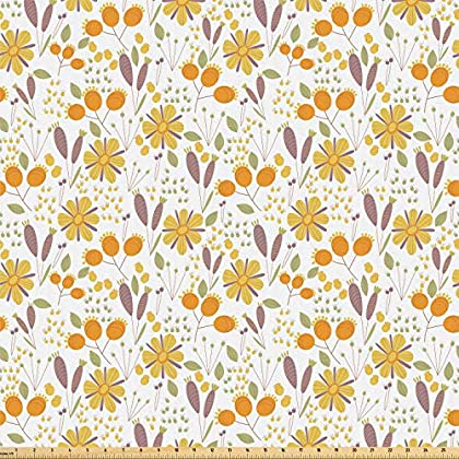 Image of Ambesonne Floral Fabric by The Yard, Autumn Field Gardening Bedding Plants Cottage Yard Fall Foliage Hand Drawn Motif, Microfiber Fabric for Arts and Crafts Textiles & Decor, 10 Yards, Multicolor Home and Kitchen