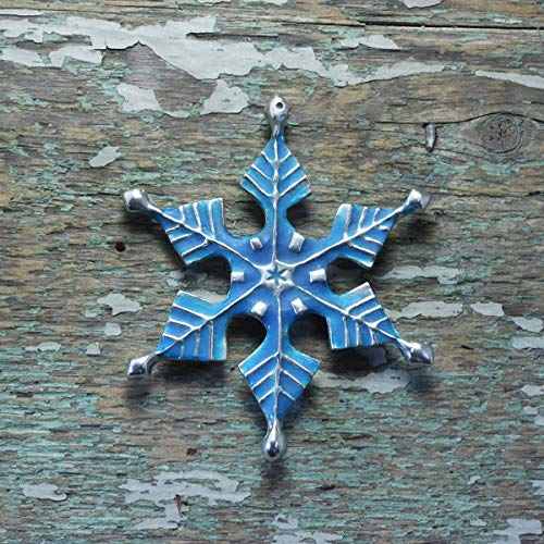 (Glow in the dark resin silver pewter snowflake ornament)