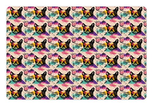 60s Crystal - Ambesonne Dog Lover Pet Mat for Food and Water, Colorful Crystals Pattern Triangles Sixties Inspired Psychedelic Boston Terrier, Rectangle Non-Slip Rubber Mat for Dogs and Cats, Multicolor
