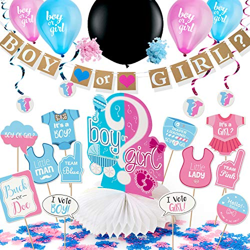 ARTIT Gender Reveal Party Supplies Baby Shower Pregnancy Announcement Decorations Kit Boy or Girl Favors Pack - Banner Centerpiece 36' Black Balloon Pink & Blue Confetti Swirls Tablecloth Photo Props]()