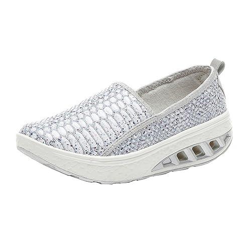 da5ca84e Tefamore Mujer Zapatillas de Deporte Cuña Zapatos para Correr Plataforma  Sneakers Calzado de Air Tacón 4cm Negro Blanco 35-42: Amazon.es: Zapatos y  ...