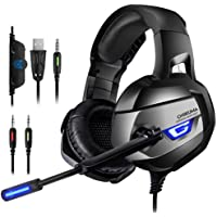 ONIKUMA Gaming Headset - PS4 Headset Mikrofon-Headset Game Kopfhörer over Ear 7.1 LED Bass Surround Noise Cancelling mit Mikrofon 3,5mm Stumm-und Lautstärkeregler für PS4 PC Xbox One Laptop Smartphone