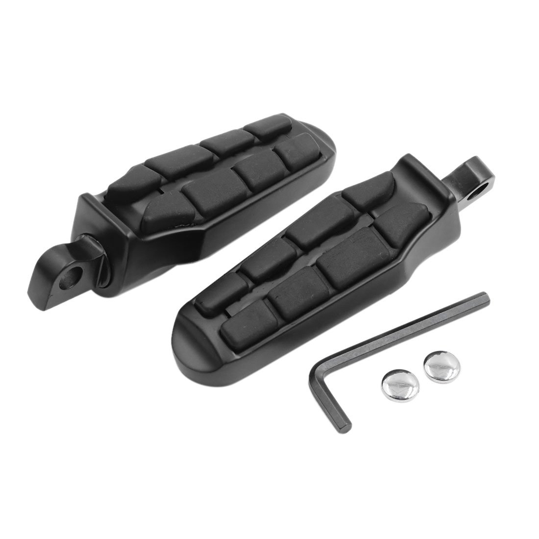 F FIERCE CYCLE 2pcs Rubber Aluminum Alloy Black Male Motorcycle Foot Pegs Rest Pedal for Harley Davidson