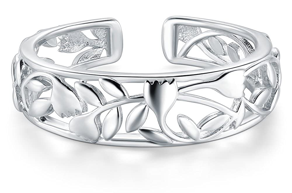 Rose Flower Design Adjustable Band Ring BORUO 925 Sterting Silver Toe Ring