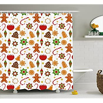 Gingerbread Man Shower Curtain By Ambesonne Festive Christmas Icons Graphic Pattern Star Figures Cookies Apples