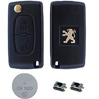 PEUGEOT DIY Kit de réparation - remplacement 2 boutons télécommandé clés voitures BOITIER AVEC CLAPET Lame HU83,micro-interrupteurs et CR1620 Batterie pour 107 207 208 307 308 407 408 607 807 3008