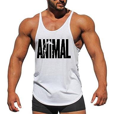 14240a92949dd YeeHoo sans Manche Animal Culturisme Débardeurs de Gym Bodybuilding Muscle  Workout Tank Tops pour Homme M