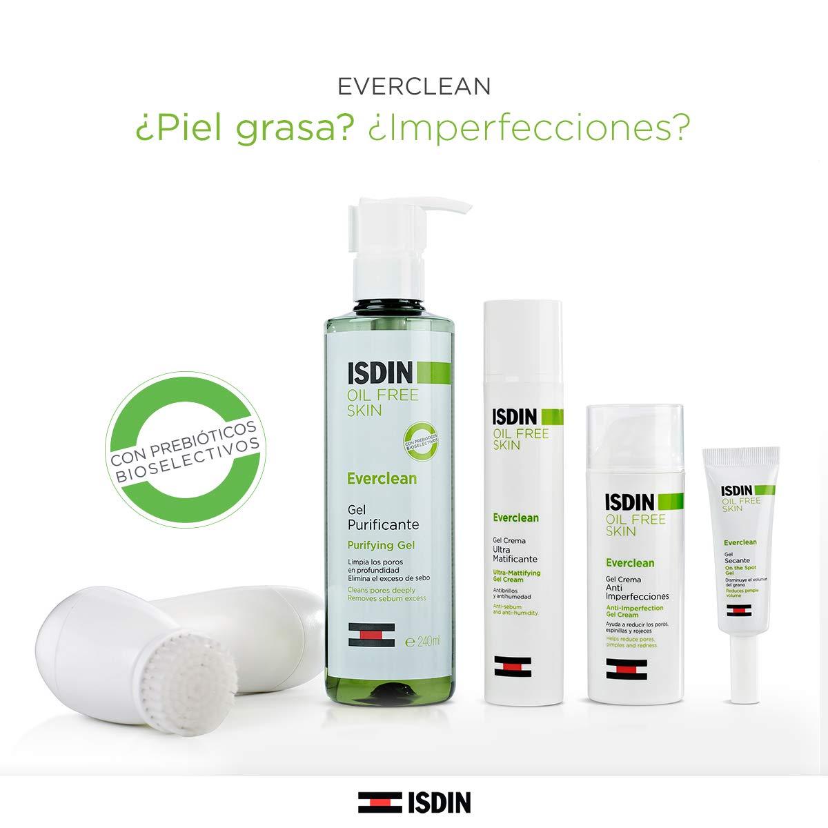 ISDIN Everclean Oil Free Skin Gel Crema Rostro Ultra Matificante | Ayuda a disminuir los poros normalizar la producción de sebo 1 x 50ml
