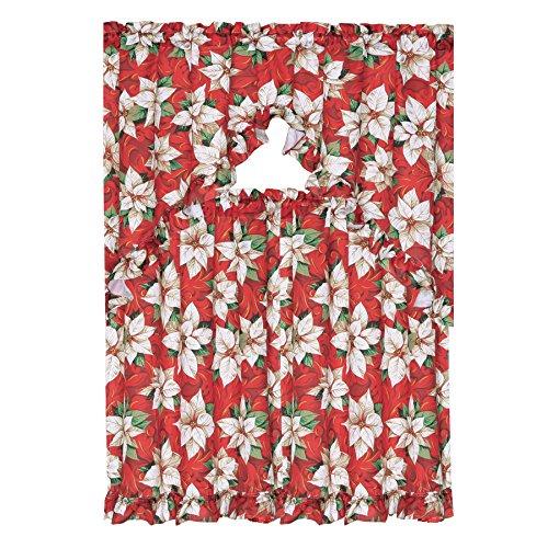 Kashi Home 3 Piece Christmas Decorative Kitchen Curtain Set, Ruffled Swag Valance & Tiers (White Poinsettia)