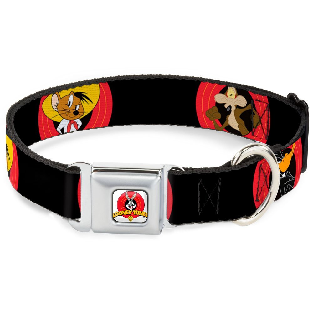 Buckle-Down Seatbelt Buckle Dog Collar Looney Tunes Characters Bullseye Pose Black 1  Wide Fits 9-15  Neck Small