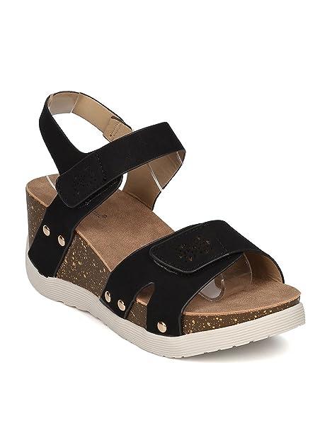 a5e80c74616b Women Leatherette Open Toe Platform Wedge Sandal GI94 - Black Leatherette  (Size  9.0)