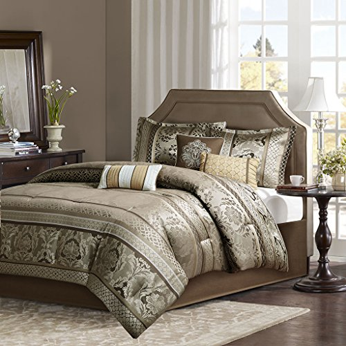 7 Piece Faux Silk (Madison Park Bellagio King Size Bed Comforter Set Bed In A Bag - Brown, Jacquard Damask – 7 Pieces Bedding Sets – Faux Silk Bedroom Comforters)