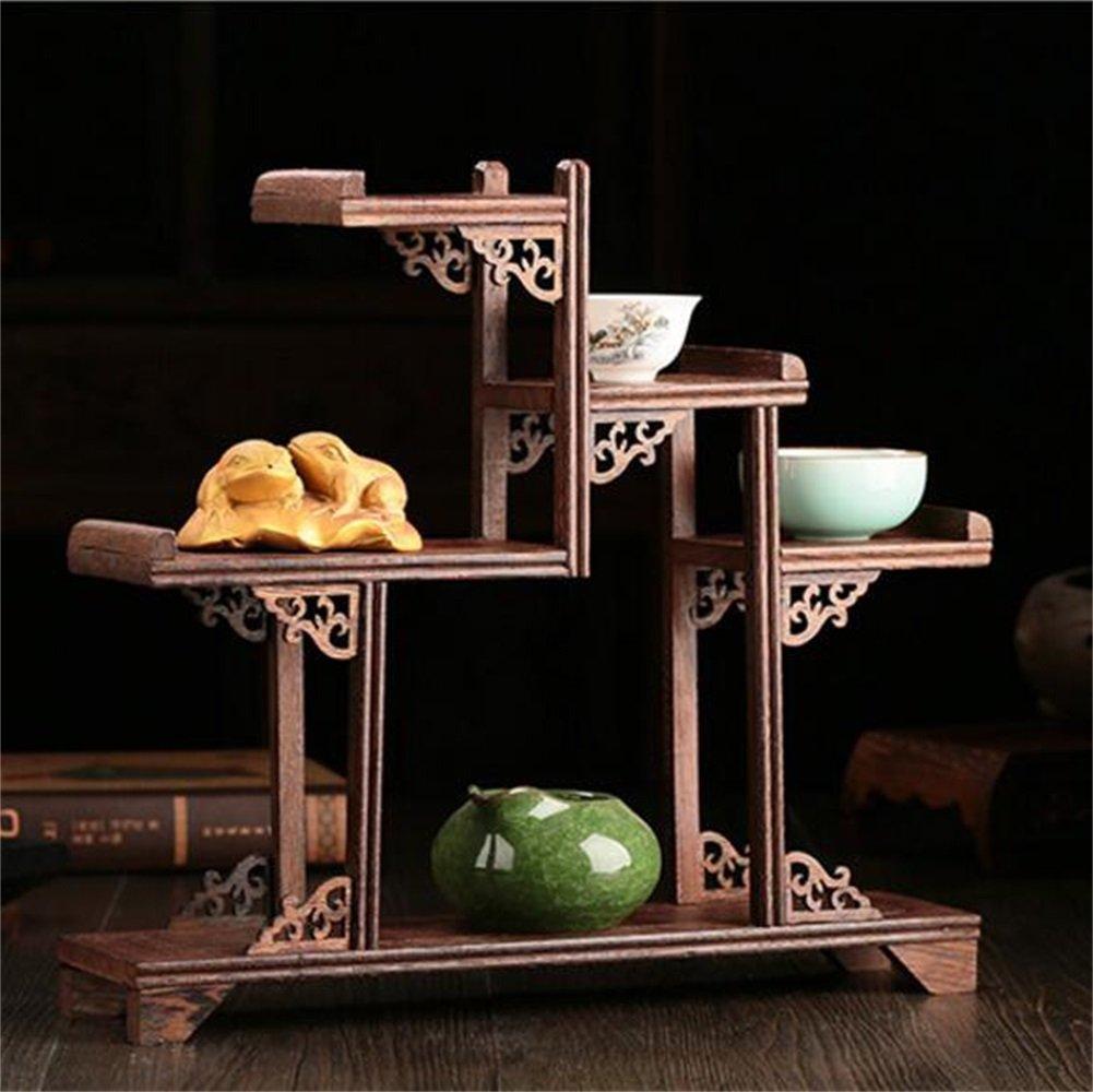 Pianta Retro stile cinese Flower Stand in legno massello Pot Rack Shelf Display Mensola di pollo in legno Multi Treasure Court Tea Rack Accessori