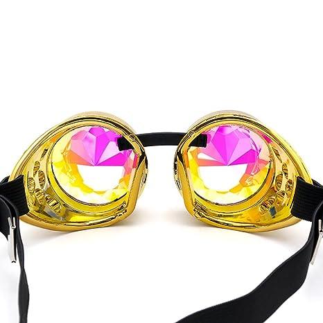 Gaddrt Kaléidoscope verres colorés rave Festival Party EDM lunettes de soleil diffracté Lens (Doré) oUSiz