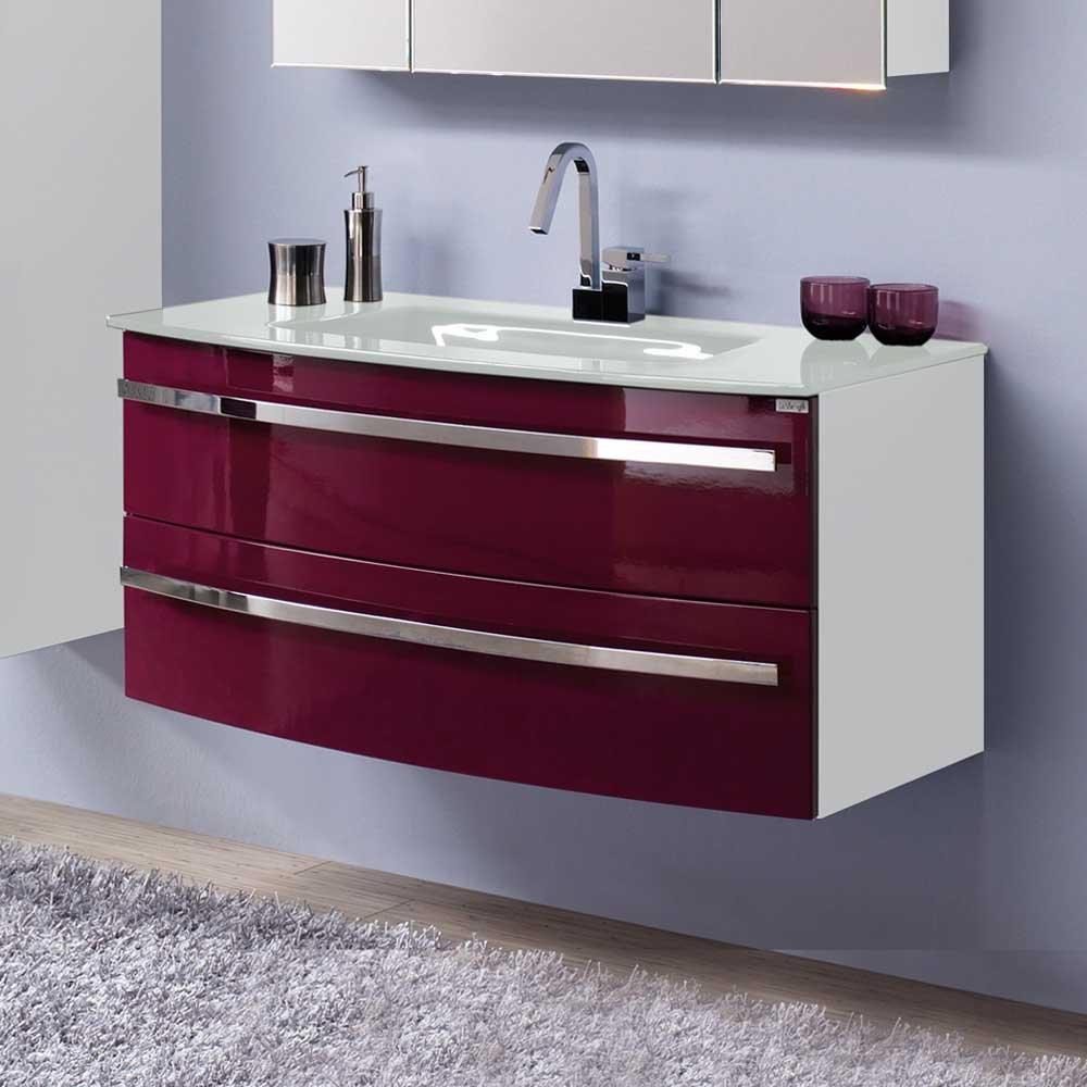 Waschtischunterschrank in Brombeer Hochglanz Weiß Waschbecken im Lieferumfang enthalten Mit Einlass-Waschbecken Ohne Pharao24