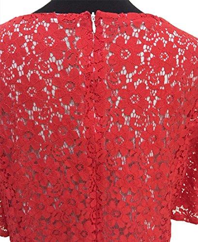 YOUJIA Vintage Mujer Vestidos Cuello en V Casual Coctel Fiesta Encaje Skater Vestido Corta Rojo