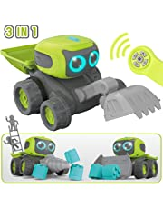 GILOBABY Remote Control Robot Toys for Kids, Rc Robot Car Toys, 3 4 5 Year Old + Boys Girls Birthday Gift, 12Pcs Child Robotic Assembly Engineering Rc Car, Toy Truck - Sing, Dance, Walk, LED Eyes