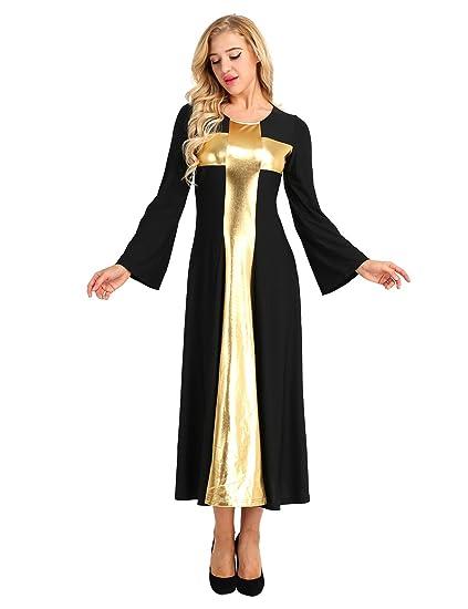 Feeshow Womens Adult Bell Long Sleeve Praise Cross Liturgical Dance