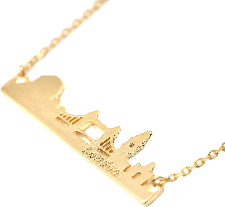 14K Yellow Gold London Bridge Pendant on an Adjustable 14K Yellow Gold Chain Necklace